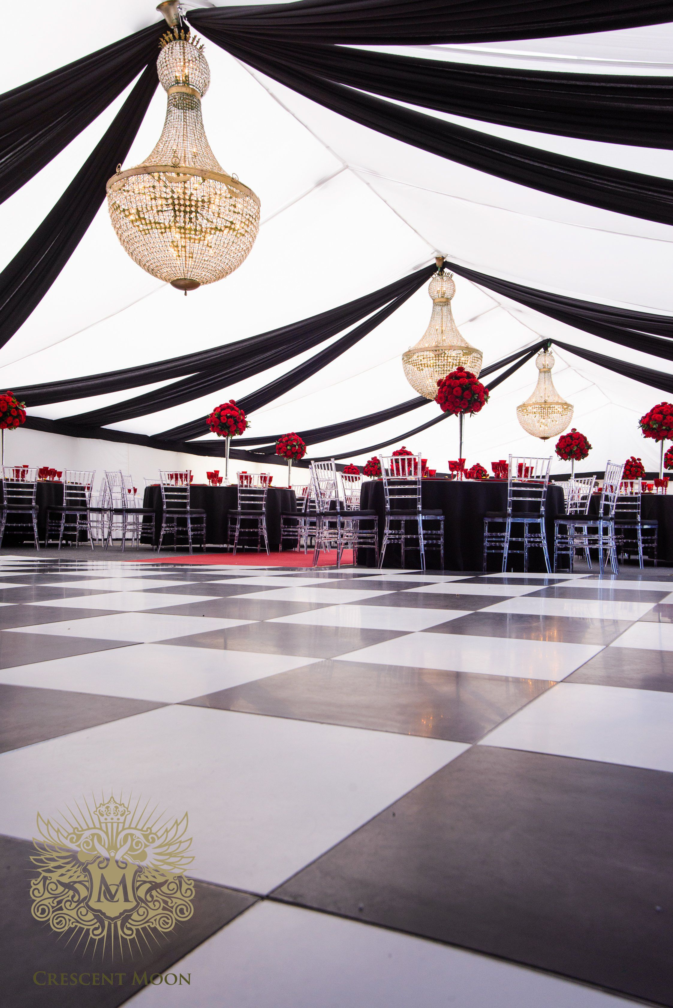 A wonderful black white and red wedding we created