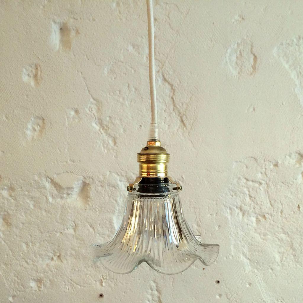 Petite Lampe Suspension Luminaire Abat Jour Ancien En Verre Moule Vendue Suspension Luminaire