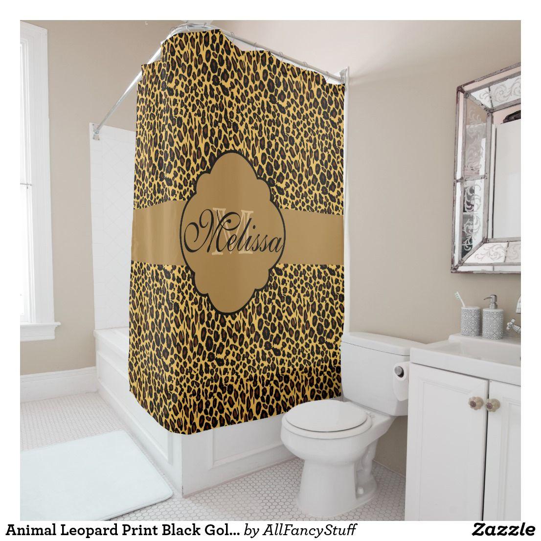 Animal Leopard Print Black Gold Monogram Shower Curtain | Bath ...
