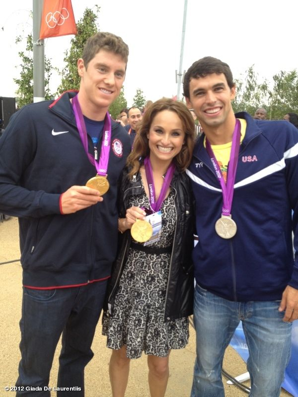 Back stage at the Today Show w/ Gold medal winners Ricky Berens & Conor Dwyer.....they were sweet enough to let me borrow the medal!!