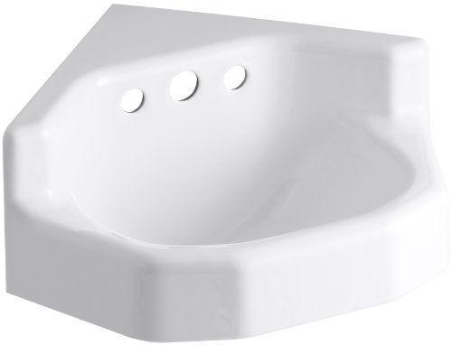 Kohler K 2766 Eh 0 Marston Wall Mount Corner Bathroom Sink White You Can Get Additional Det Wall Mounted Bathroom Sinks Corner Sink Bathroom Bathroom Sink