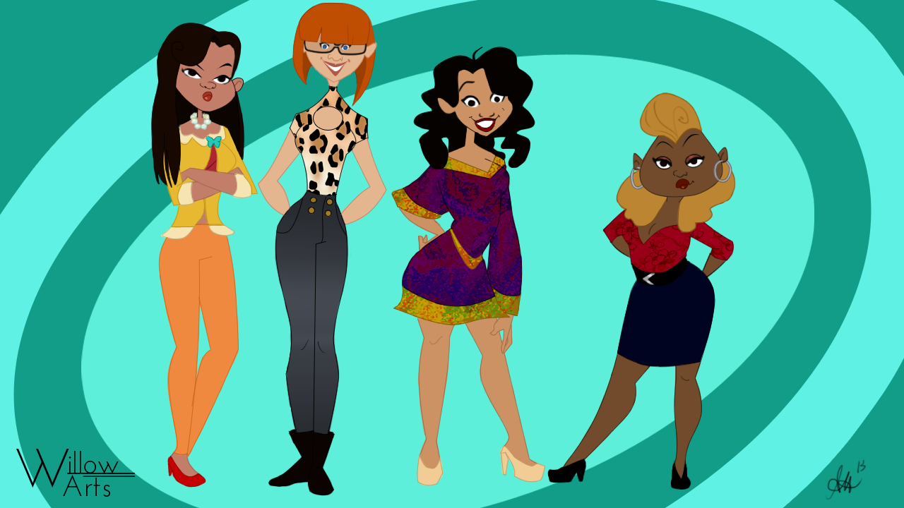 Decided to do my own grown up version of the Proud Family girls ...