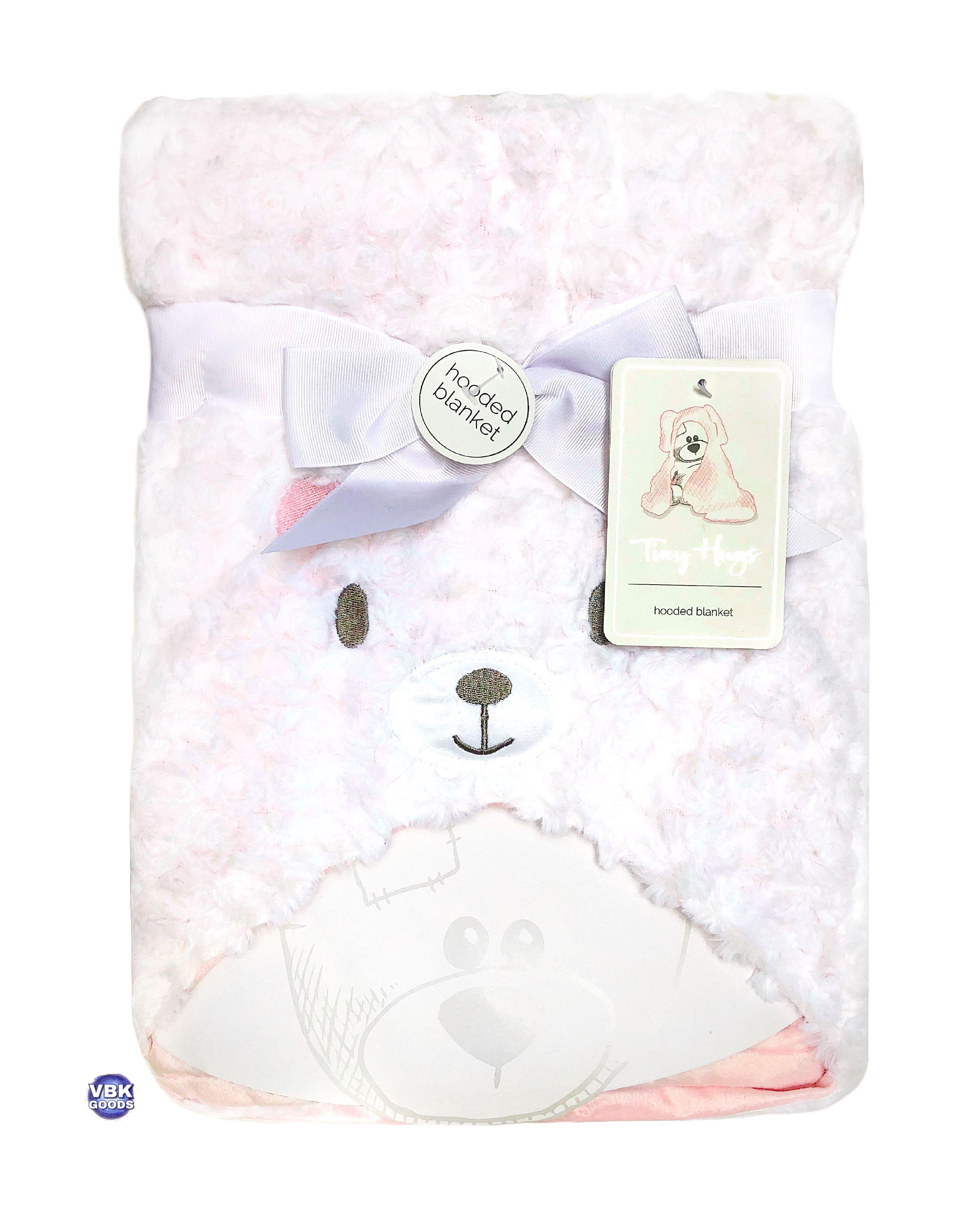 Tiny Hugs Hooded Baby Blanket Baby Bear Pink Baby Blanket Baby Bear Baby Shower Gifts