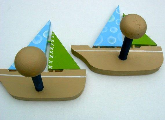 Handpainted  Wood Nautical Boat Wall Peg Pair  by PatonLaneDesigns, $14.50