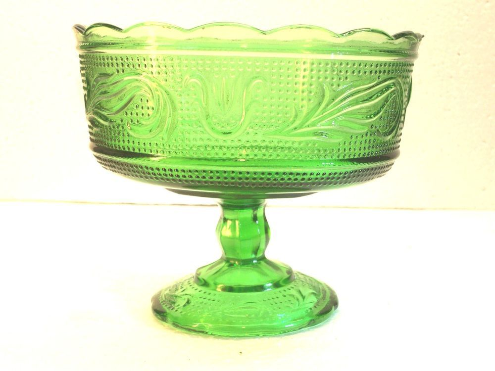 Vintage E O Brody M6000 Green Glass Compote Pedestal Footed Candy Bowl Cleveland #EOBrody