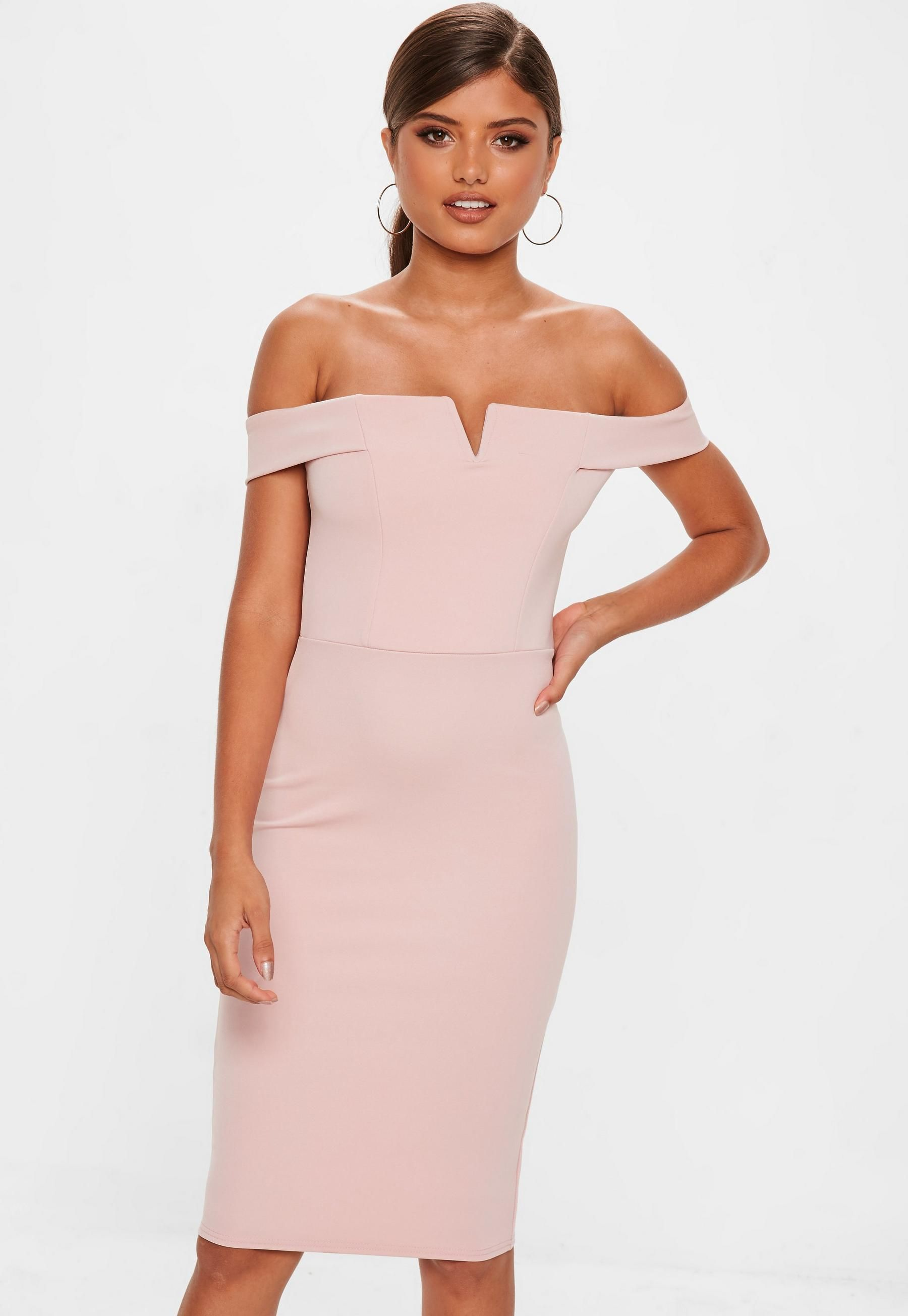 8558346ca7a84 Missguided - Rose V Front Bardot Midi Dress in 2019 | W A N T E D ...