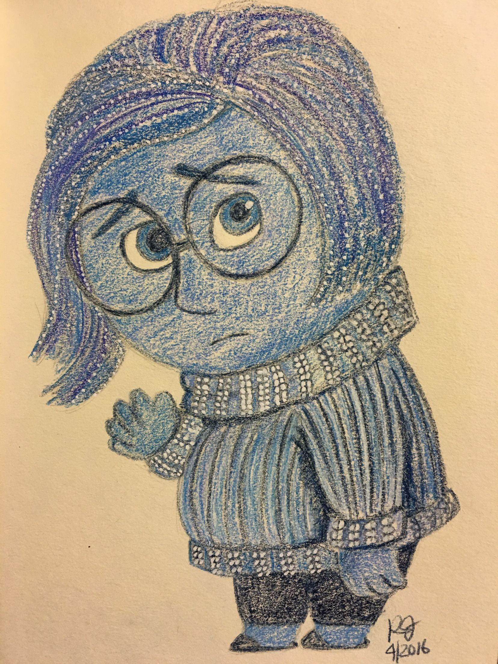 Love sadness from inside out so had to draw her using my prismacolor pencils