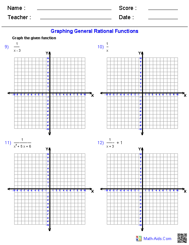 graphing general rational functions worksheets - Graphing Functions Worksheet