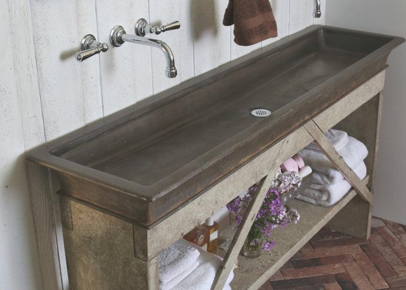 60 Rusty Iron Trough Sink Trough Sink Sink Powder Room Decor