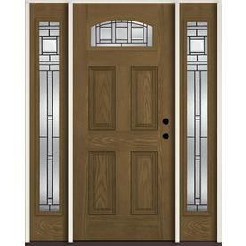 Reliabilt Craftsman 1 4 Lite Decorative Glass Left Hand Inswing Walnut Stained Fiberglass Prehung Entry Door With Sideli Entry Door With Sidelights Entry Doors Door Handle Sets