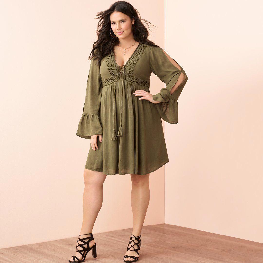 61878d66fba Olive Green Gauze BOHO Dress