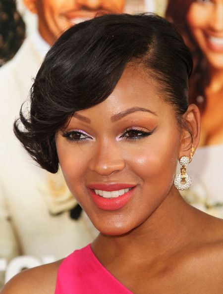 Meagan Good Photos Photos Premiere Of Tristar Pictures Jumping The Broom Arrivals Cool Short Hairstyles Meagan Good Short Hair Celebrity Short Hair
