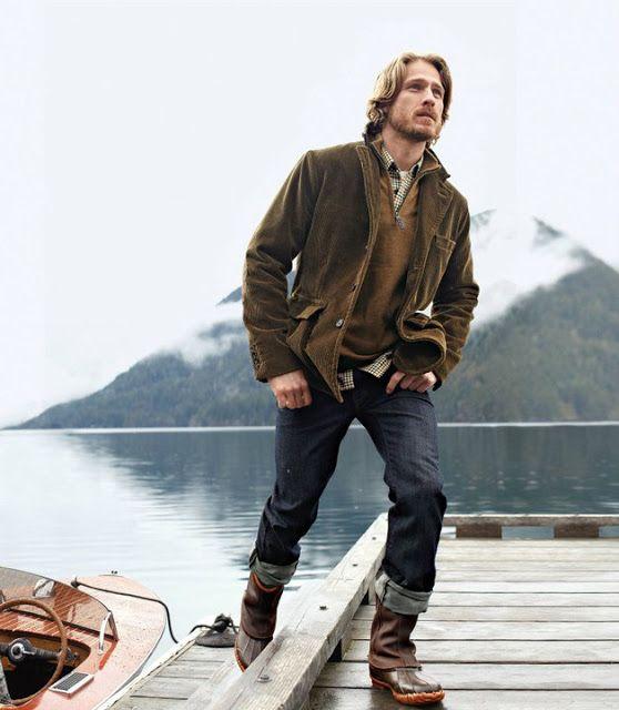 Men's fashion in autumn, mountain lakeside