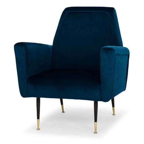 The Victor occasional chair features a handsome tweed upholstered frame supported by elongated mixed metal legs in blackened steel with brass caps. The dramatic deep-seated form and striking lines blend modern refinement with sophisticated design. - Victor Midnight Blue and Black Occasional Chair - Seat Height: 16.5-Inch - Seat Depth: 22.5-Inch - Armrest Height: 25.8-Inch - Maximum Weight Capacity (Lbs): 286 Nuevo - HGSC298 | Nuevo HGSC298 Victor Occasional Chair in Midnight Blue/Black, Contempo