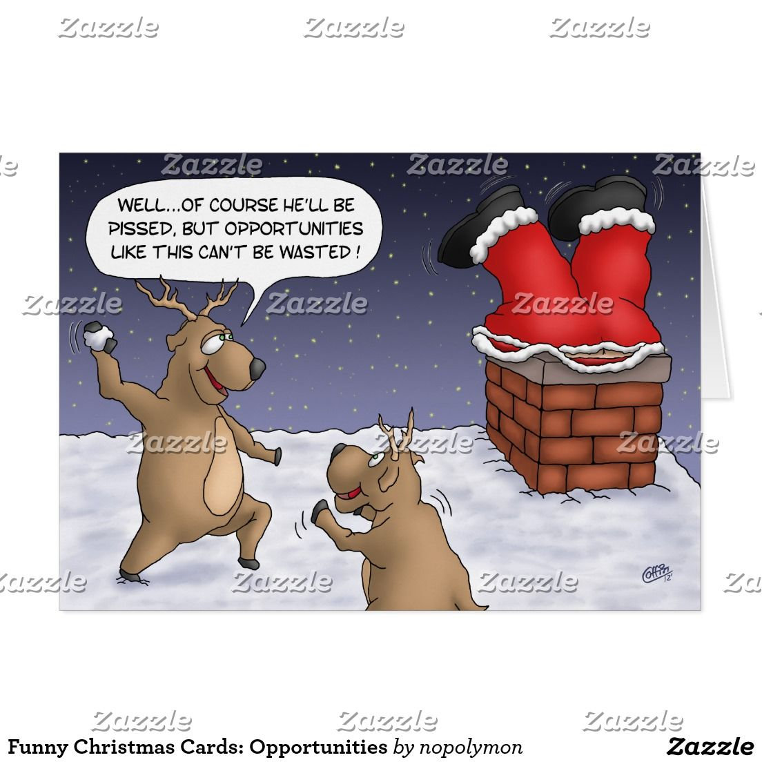 Funny Christmas Cards: Opportunities Holiday Card | Zazzle.in