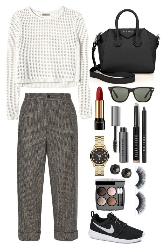 """""""my today's office look"""" by artemisluna1 ❤ liked on Polyvore featuring Rebecca Taylor, NIKE, Givenchy, Ray-Ban, Gucci, Lancôme, Bobbi Brown Cosmetics, Marc by Marc Jacobs, Chanel and Emily & Ashley"""