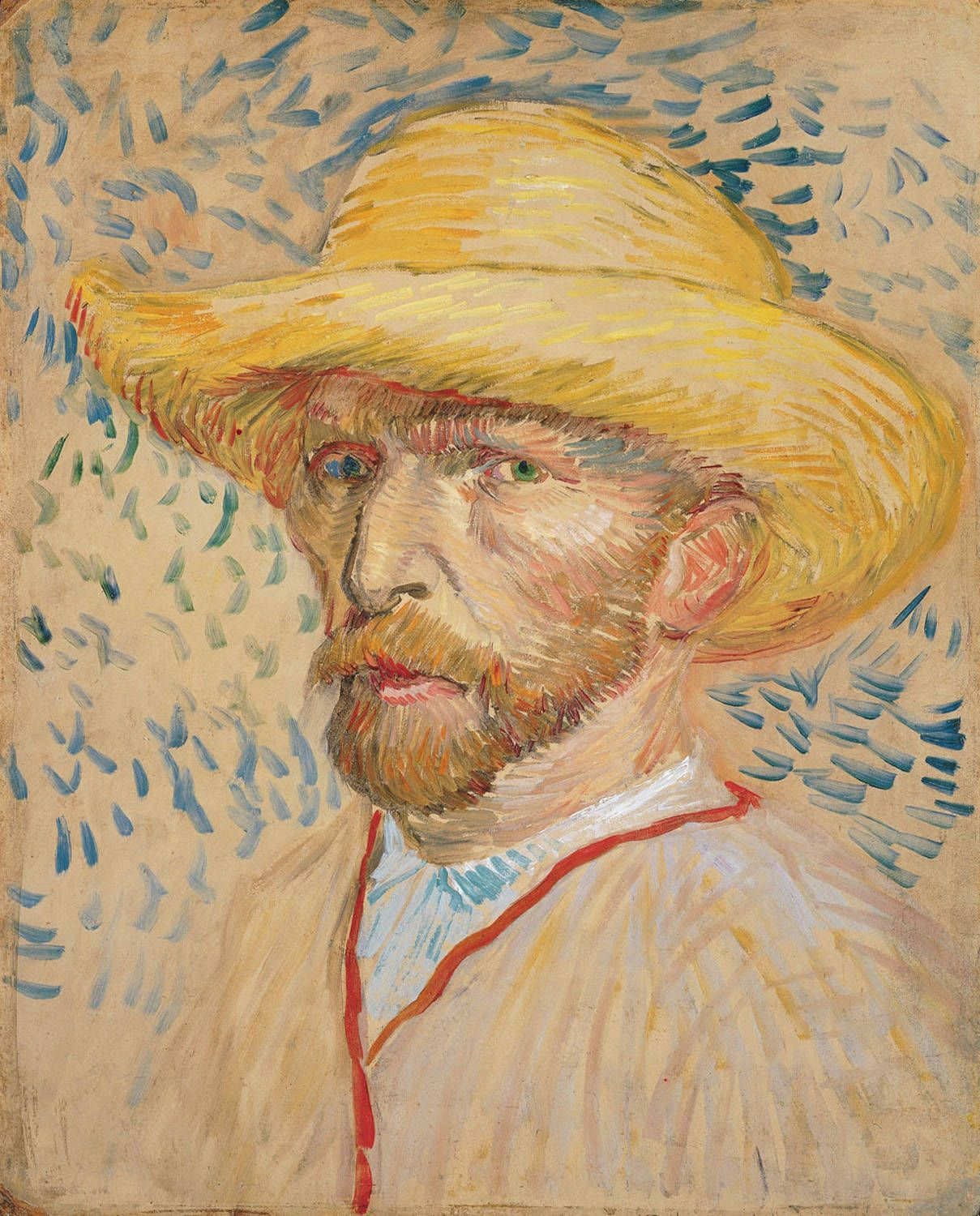 vincent van gogh self portrait a straw hat van gogh  vincent van gogh self portrait a straw hat 1887