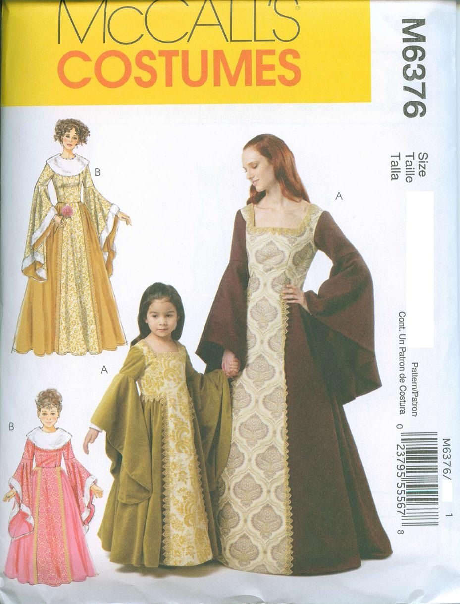 McCalls 6376 Medieval Renaissance Gown Dress Sewing Pattern Costume ...