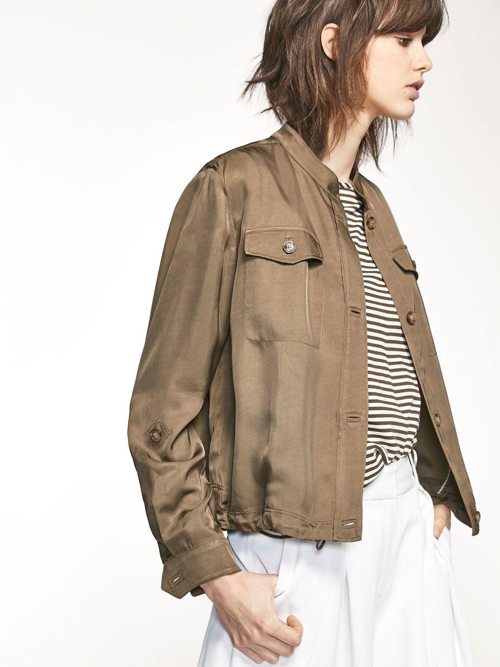 View All Coats Jackets Women Massimo Dutti Jackets Khaki Jacket Coats Jackets [ 1306 x 980 Pixel ]