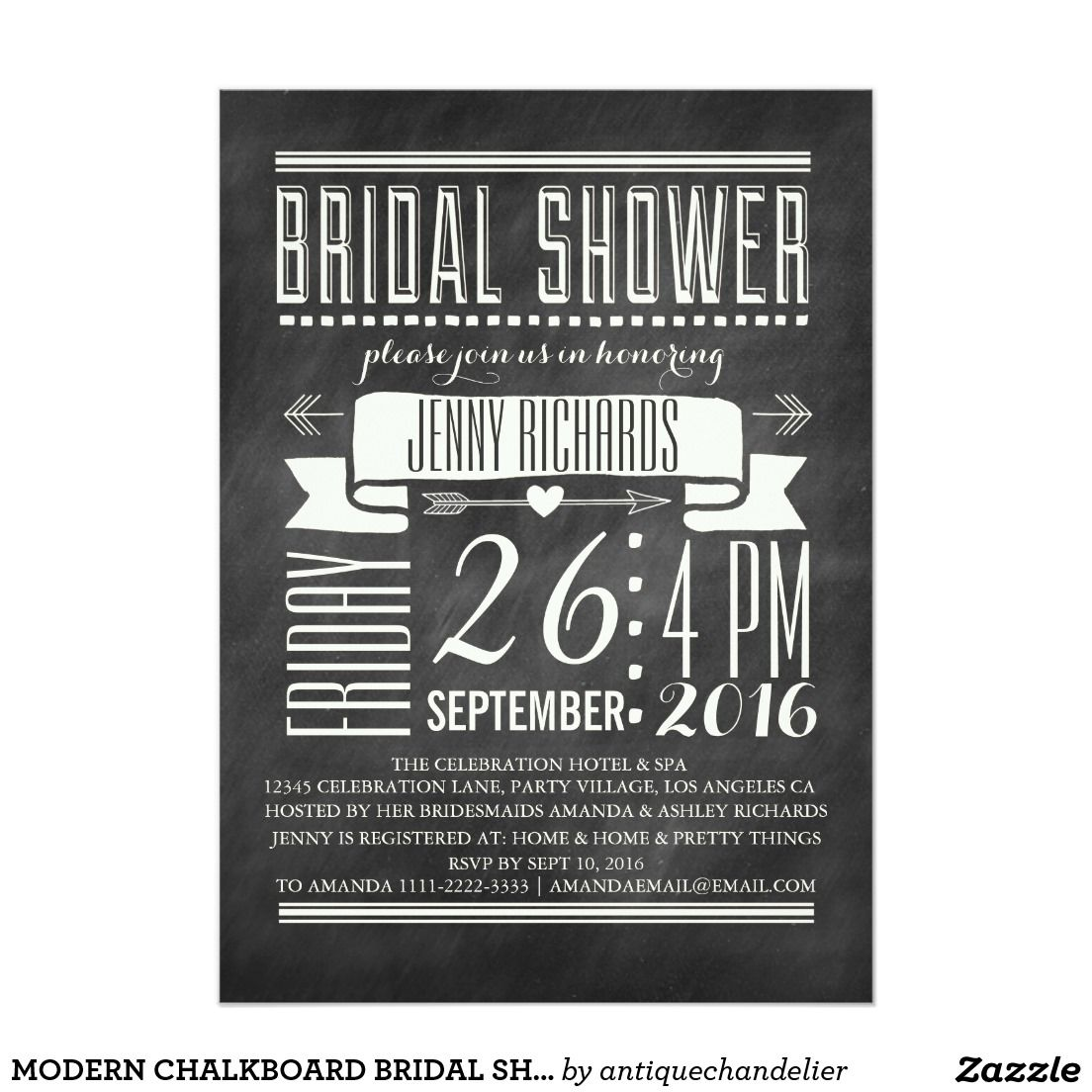 Modern Chalkboard Bridal Shower Invitation  Chalkboard Bridal