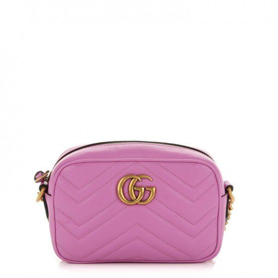bf3e0b4d168 This is an authentic GUCCI Calfskin Matelasse Mini GG Marmont Bag in Candy  Pink. This shoulder bag is crafted of smooth