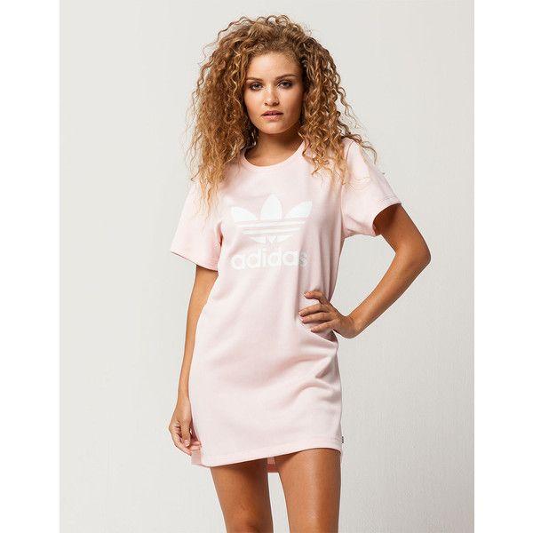 ed9f5828 Adidas Trefoil Tee Dress ($40) ❤ liked on Polyvore featuring dresses, crew  neck dress, adidas, woven dress, tee dress and short-sleeve dresses