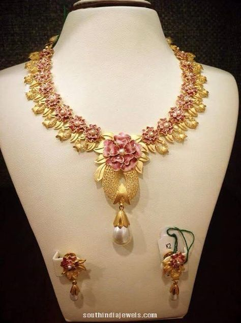 Designer Gold Floral Necklace With Earrings South India Jewels Gold Necklace Designs Gold Jewelry Fashion Necklace Designs