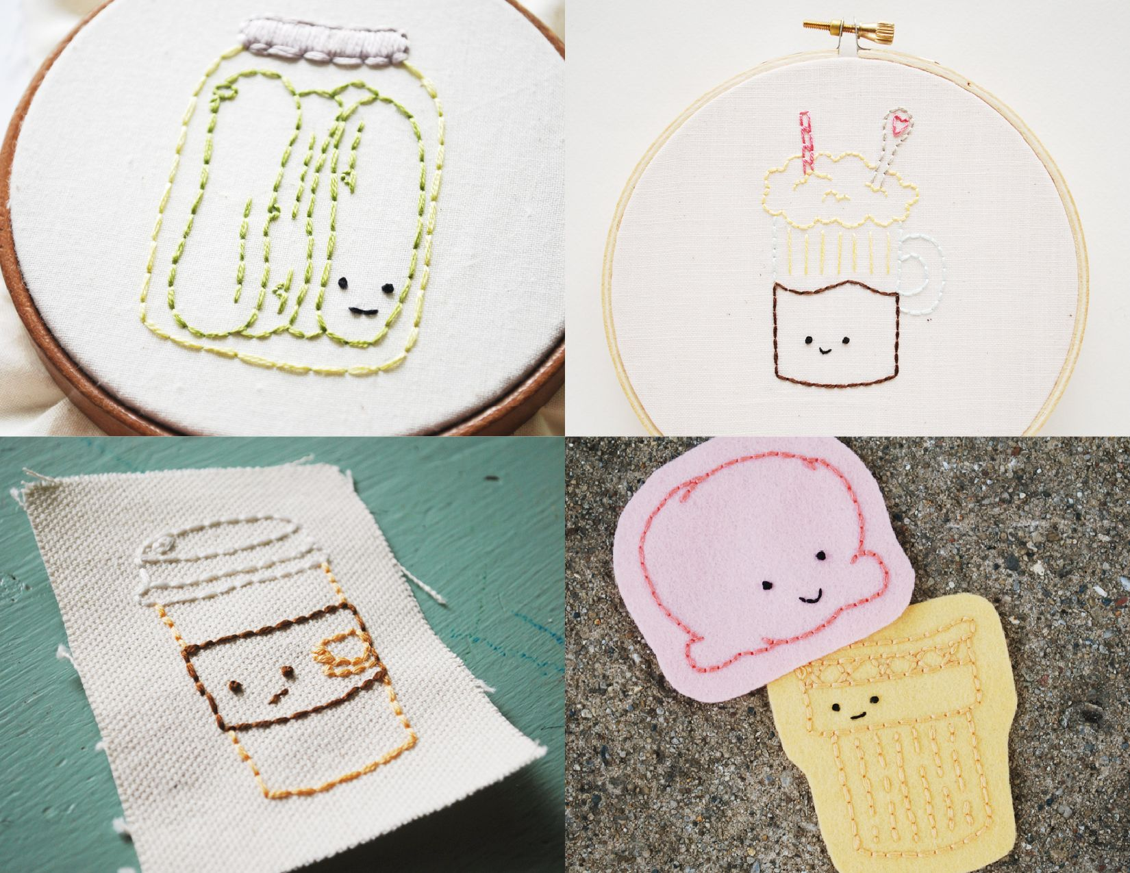 Fun foods ironon embroidery pattern transfers u by wild olive u