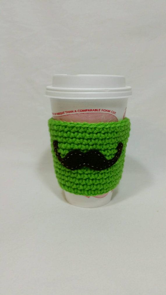 Check out this item in my Etsy shop https://www.etsy.com/listing/206198029/coffee-sleeve-green-with-mustache
