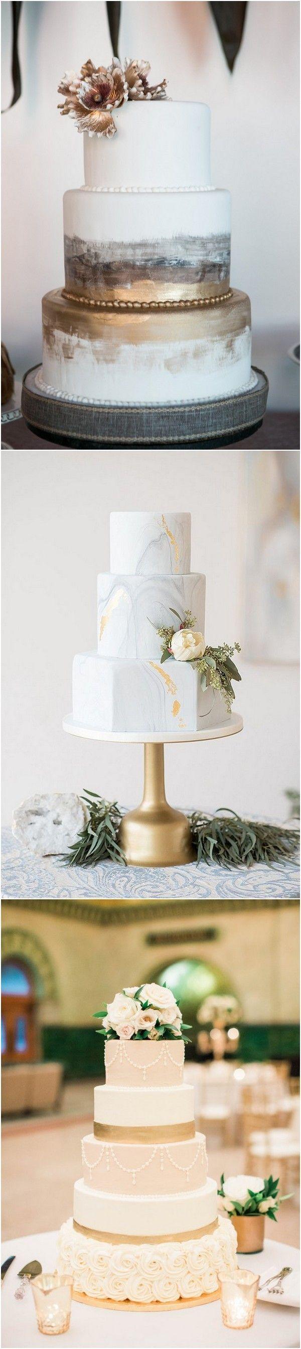 Trending creative metallic wedding cakes for metallic