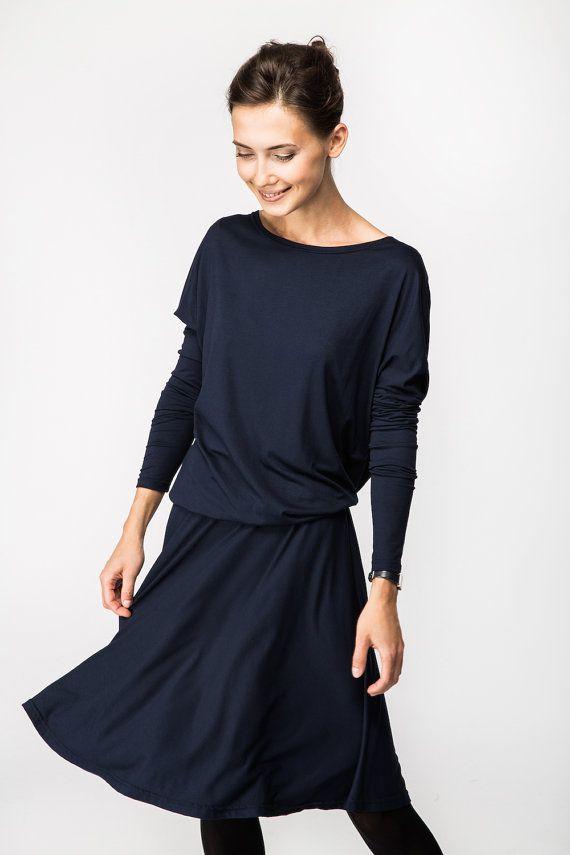 Abiti Eleganti Sotto Il Ginocchio.Blue Dress Knee Length Dress Blue Long Sleeve Dress Lemuse