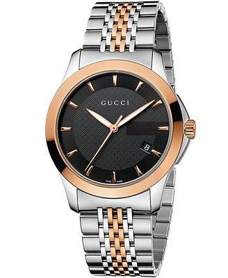 592249dd118 Unisex Swiss G-Timeless Rose Gold-Tone and Stainless Steel Bracelet ...