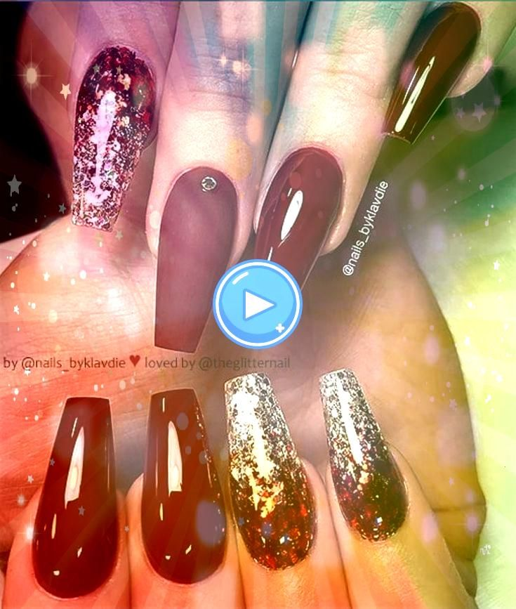 Elegant Acrylic Ombre Burgundy Coffin Nails Design For Short And Long Nails  Page 41 of 46 46 Elegant Acrylic Ombre Burgundy Coffin Nails Design For Short And Long Nails...