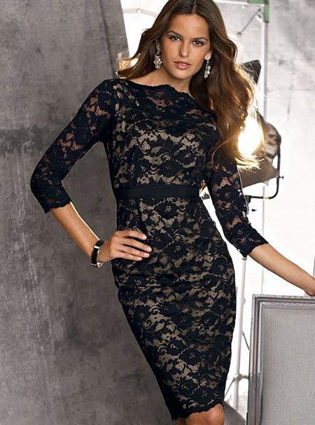 Outfit vestido negro con encaje