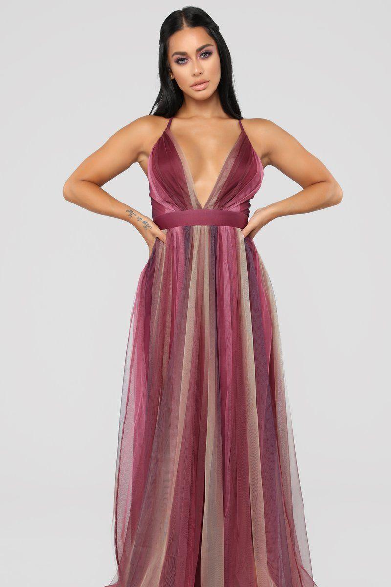 Sweeter Than Honey Tulle Maxi Dress Purple/Tan Purple