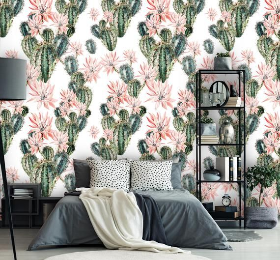 Removable Peel 'n Stick Wallpaper, Self-Adhesive Accent Wall Mural, Tropical Pattern, Nursery, Room Decor • Exotic Cactus #tropicalpattern