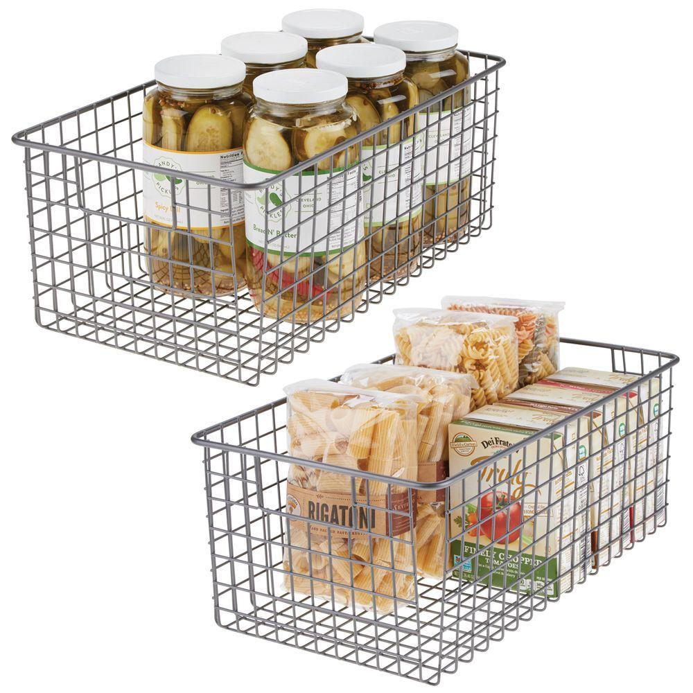 Large Metal Wire Kitchen Pantry Food Storage Basket 16 X 9 X 6 Storage Baskets Kitchen Pantry Kitchen Cabinet Handles
