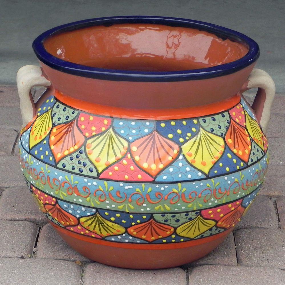 Large Mexican Talavera Bean Pot Planter