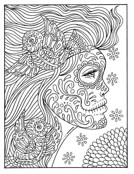 create masterpiece coloring pages | 5 Pages Day of the Dead Girls Digital, coloring book ...