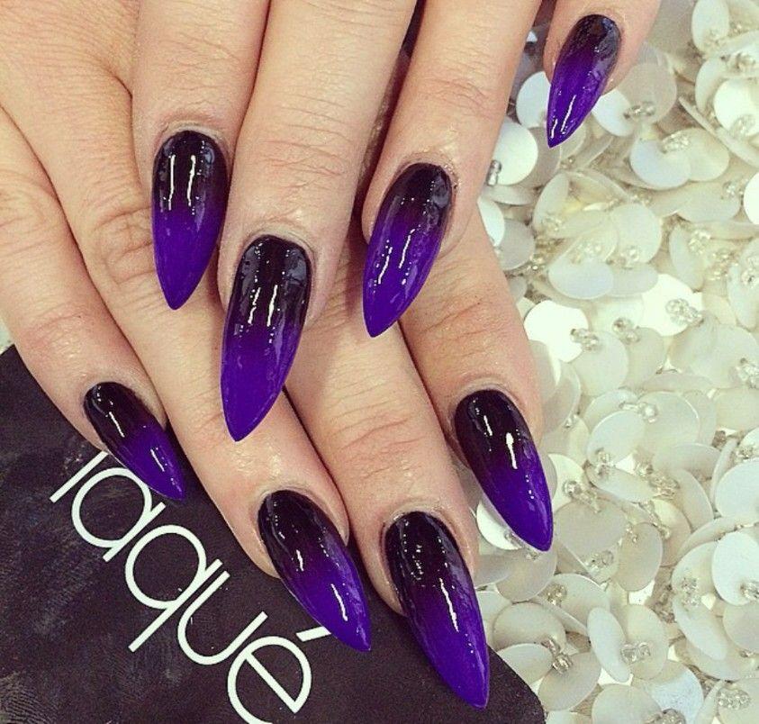 Black and purple ombre stiletto nails