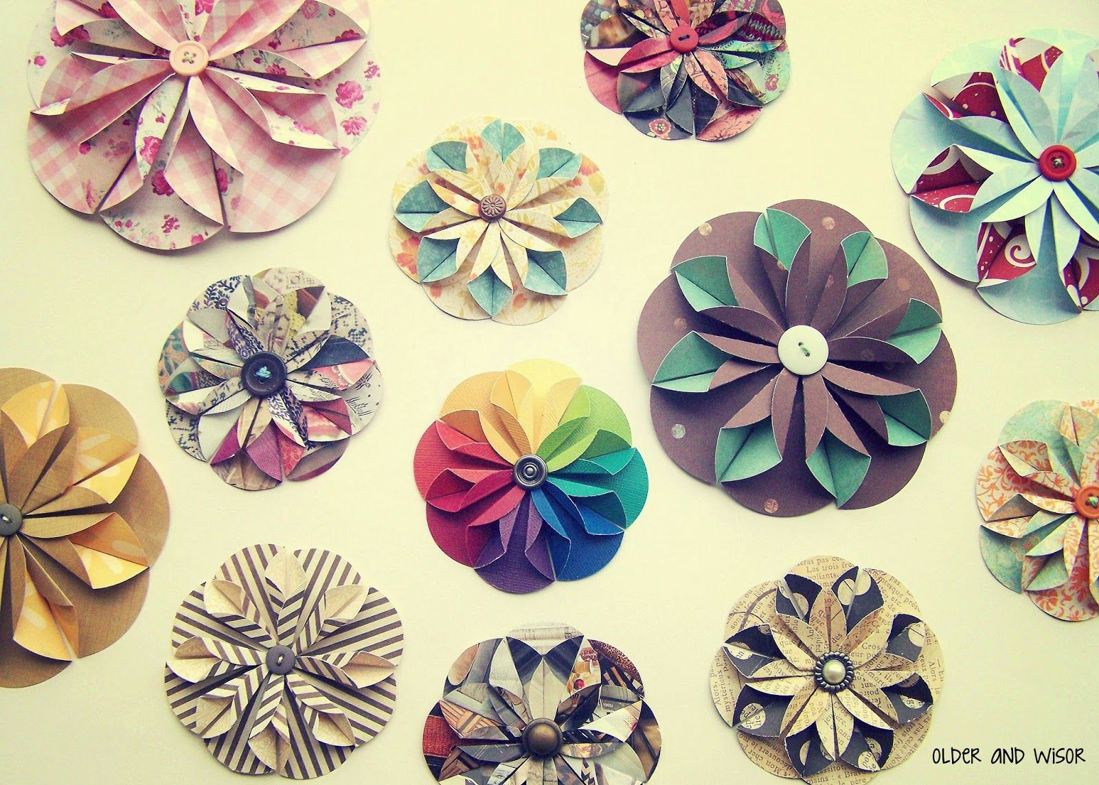 Older And Wisor Folded Paper Flower Gift Topper Flowers
