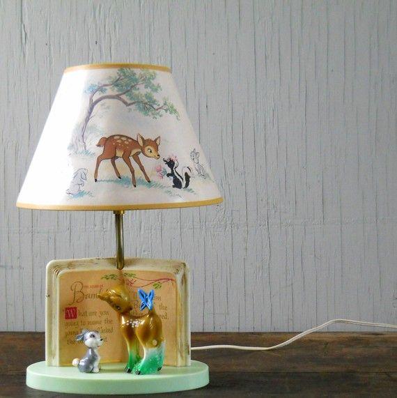 Vintage Bambi Disney Lamp | Bambi and Rudolph | Pinterest