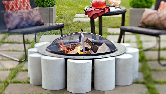 Incorporate a freestanding fire pit into your patio with a ring of