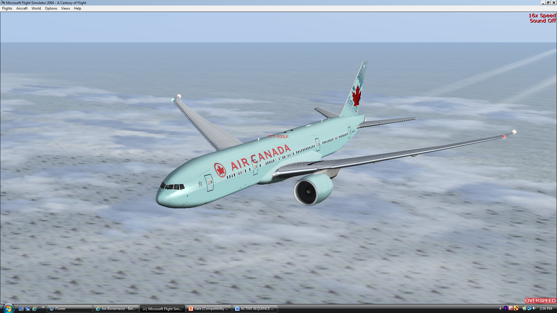 Air Canada's 777-200LR C-FIUA cruising over the ice fields