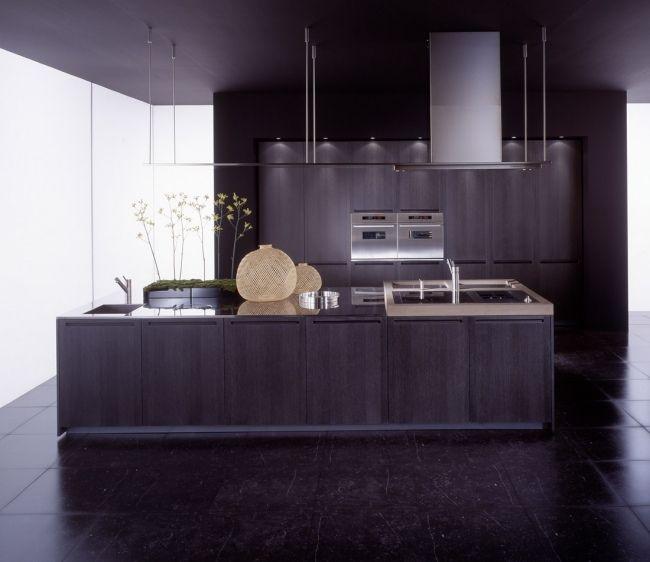 boffi küche kochinsel dunkles holz furniere einbau küchengeräte, Kuchen
