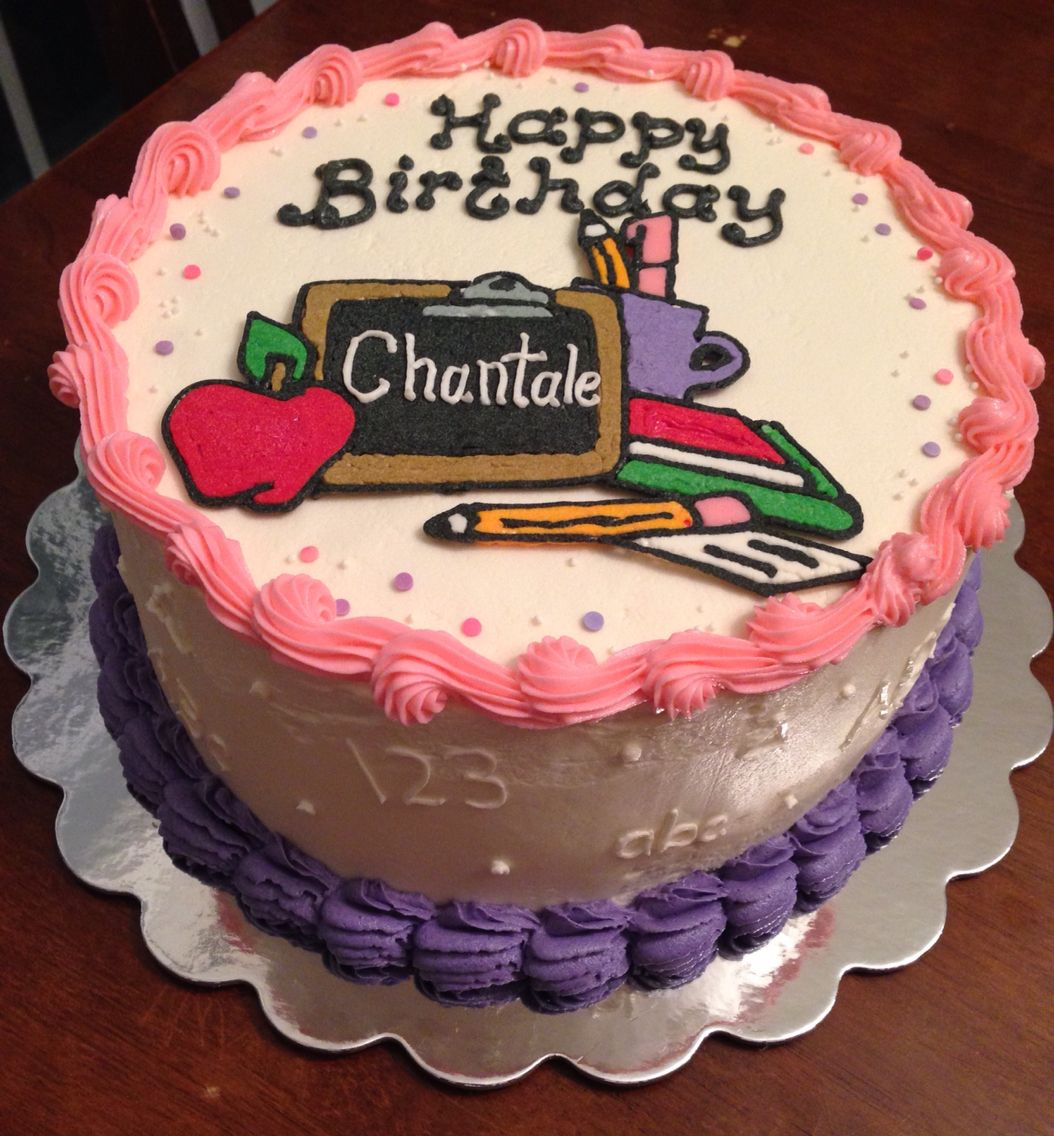 Teacher buttercream birthday cake vintage cakes Pinterest