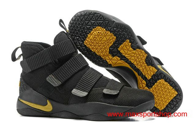 cb92358ae9fb 2017 Nike LeBron Soldier 11 Black Gold Yellow Basketball Shoes  76.00