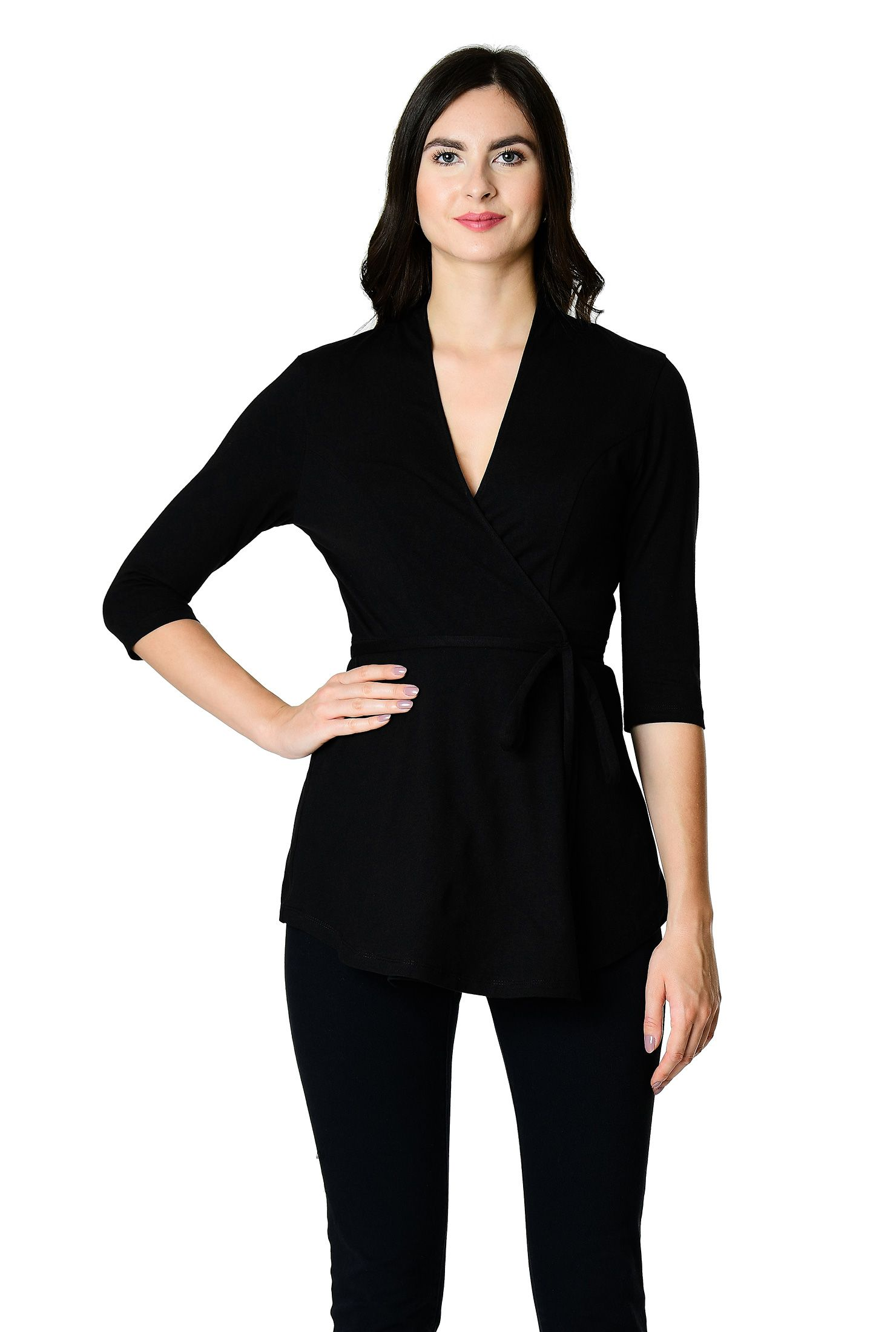 popular stores various styles arrives below the elbow length sleeve tops, black tops, cotton/spandex ...