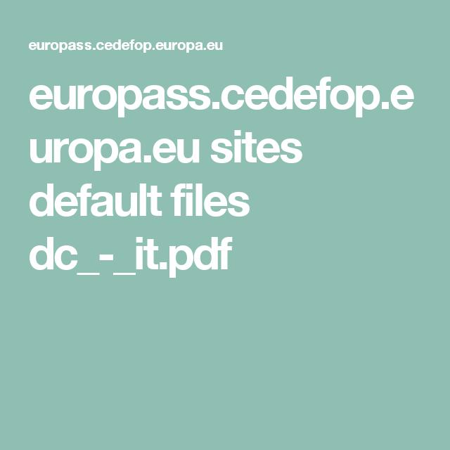 Europass Cedefop Europa Eu Sites Default Files Dc It Pdf