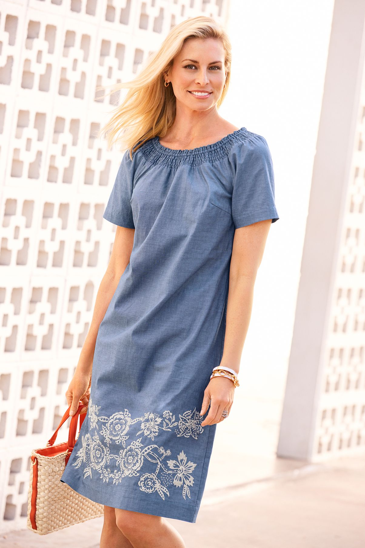 e479876fe3e Chambray + embroidery   the perfect summer shift dress.